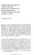 'Darkness Must be Expell'd by Letting in the Light': Bishop Francis Hutchinson and the Conversion of Irish Catholics by Means of the Irish Language, c. 1720-4