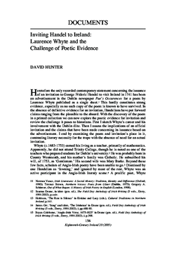 Inviting Handel to Ireland: Laurence Whyte and the Challenge of Poetic Evidence