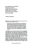 Some Reflections on the First Twenty Years of the Eighteenth-Century Ireland Society and of its Journal Eighteenth-Century Ireland / Iris an dá chultúr