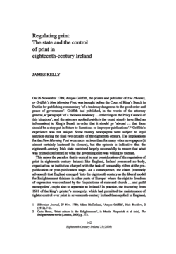 Regulating print: The state and the control of print in eighteenth-century Ireland