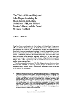 The Trials of Richard Daly and John Magee, involving the Sham Squire, the Lottery Swindle of 1788, the Billiard Marker's Ghost, and the Grand Olympic Pig Hunt