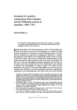 In pursuit of a positive construction: Irish Catholics and the Williamite articles of surrender, 1690-1701