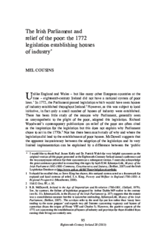 The Irish Parliament and relief of the poor: the 1772 legislation establishing houses of industry