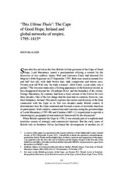 'This Ultima Thule': The Cape of Good Hope, Ireland and global networks of empire, 1795-1815