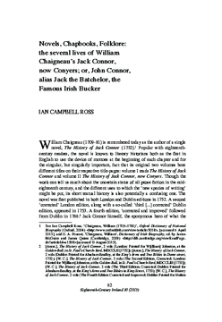 Novels, Chapbooks, Folklore: the several lives of William Chaigneau's Jack Connor, now Conyers; or, John Connor, alias Jack the Batchelor, the Famous Irish Bucker