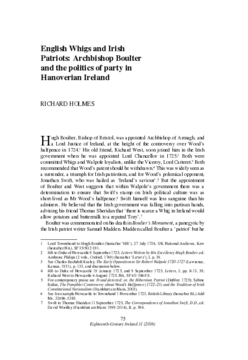 English Whigs and Irish Patriots: Archbishop Boulter and the politics of party in Hanoverian Ireland