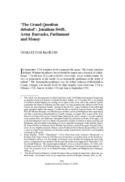 'The Grand Question debated': Jonathan Swift, Army Barracks, Parliament and Money