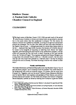 Matthew Duane: A Prudent Irish Catholic Chamber Counsel in England