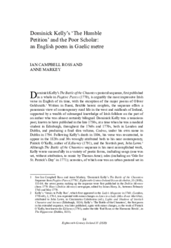 Dominick Kelly's 'The Humble Petition' and the Poor Scholar: an English poem in Gaelic metre