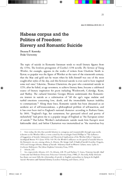 Habeas corpus and the Politics of Freedom: Slavery and Romantic Suicide