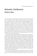 Romantic Confluences Editor's Note