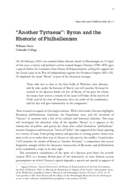 """""""Another Tyrtaeus"""": Byron and the Rhetoric of Philhellenism"""