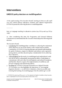 Interventions: UNESCO policy decision on multilingualism
