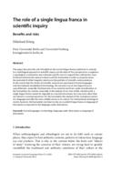 The role of a single lingua franca in scientific inquiry