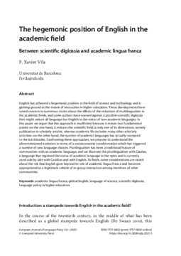 The hegemonic position of English in the academic field