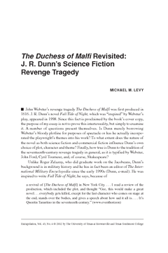 The Duchess of Malfi Revisited: J. R. Dunn's Science Fiction Revenge Tragedy