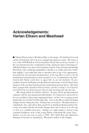 Acknowledgements: Harlan Ellison and Masthead