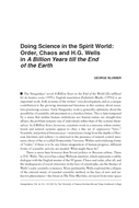 Doing Science in the Spirit World: Order, Chaos and H.G. Wells in A Billion Years till the End of the Earth