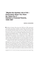 """""""Maybe the Hardest Job of All— Particularly When You Have No Talent for It"""": Heinlein's Fictional Parents, 1939-1987"""