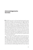 Acknowledgements: Sonnets