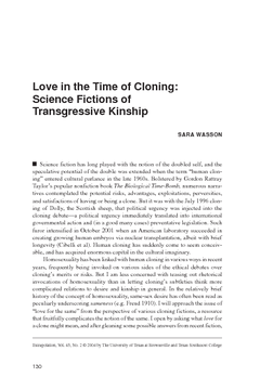 Love in the Time of Cloning: Science Fictions of Transgressive Kinship