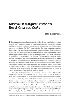 Survival in Margaret Atwood's Novel Oryx and Crake