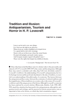 Tradition and Illusion: Antiquarianism, Tourism and Horror in H. P. Lovecraft