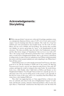 Acknowledgements: Storytelling