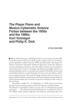 The Player Piano and Musico-Cybernetic Science Fiction between the 1950s and the 1980s: Kurt Vonnegut and Philip K. Dick