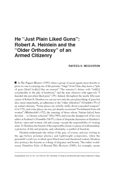 """He """"Just Plain Liked Guns"""": Robert A. Heinlein and the """"Older Orthodoxy"""" of an Armed Citizenry"""