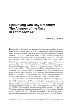 Spelunking with Ray Bradbury: The Allegory of the Cave in Fahrenheit 451
