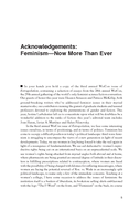 Acknowledgements: Feminism—Now More Than Ever