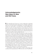 Acknowledgements: New Ideas on New and Old Faces