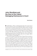 John Wyndham and the Sins of His Father: Damaging Disclosures in Court