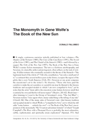 The Monomyth in Gene Wolfe's The Book of the New Sun