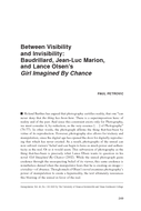 Between Visibility and Invisibility: Baudrillard, Jean-Luc Marion, and Lance Olsen's Girl Imagined By Chance