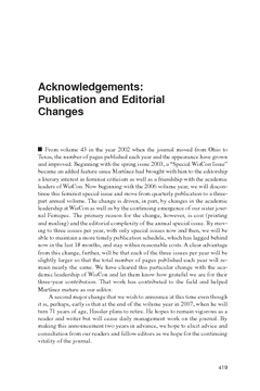 Acknowledgements: Publication and Editorial Changes