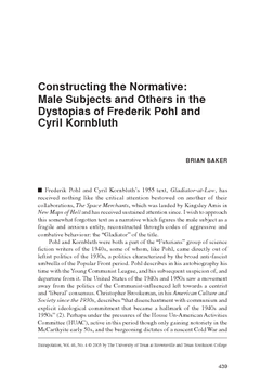 Constructing the Normative: Male Subjects and Others in the Dystopias of Frederik Pohl and Cyril Kornbluth