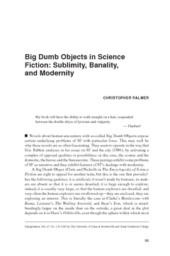 Big Dumb Objects in Science Fiction: Sublimity, Banality, and Modernity