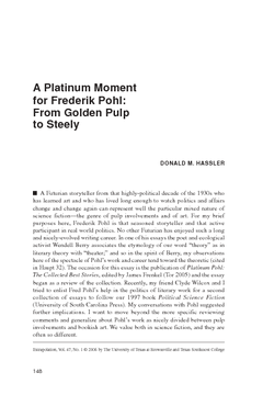 A Platinum Moment for Frederik Pohl: From Golden Pulp to Steely