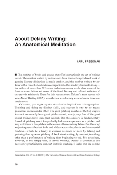 About Delany Writing: An Anatomical Meditation