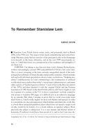 To Remember Stanislaw Lem