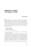 Stagecoach in Space: The Legacy of Firefly