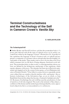 Terminal Constructedness and the Technology of the Self in Cameron Crowe's Vanilla Sky