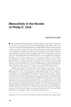 Masculinity in the Novels of Philip K. Dick