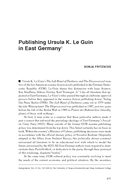 Publishing Ursula K. Le Guin in East Germany