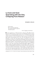 Le Guin and God: Quarreling with the One, Critiquing Pure Reason