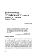 Grinding Axess and Balancing Oppositions: The Transformation of Feminism in Ursula K. Le Guin's Science Fiction