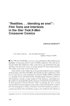 """""""Realities. . . blending as one!"""": Film Texts and Intertexts in the Star Trek/X-Men Crossover Comics"""