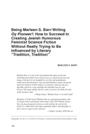 """Being Marleen S. Barr/Writing Oy Pioneer!: How to Succeed in Creating Jewish Humorous Feminist Science Fiction Without Really Trying to Be Influenced by Literary """"Tradition, Tradition"""""""